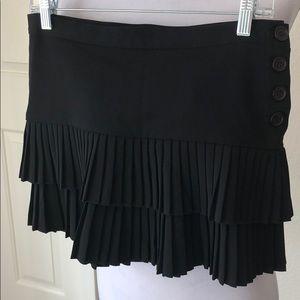 BCBG Ruffle Pleated Black Skirt